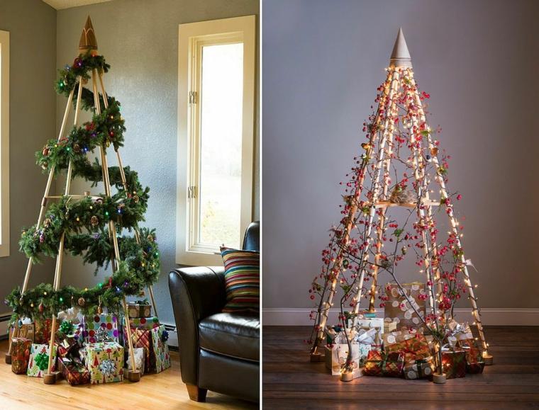 come addobbare un albero di natale scala di legno con ghirlande natalizie