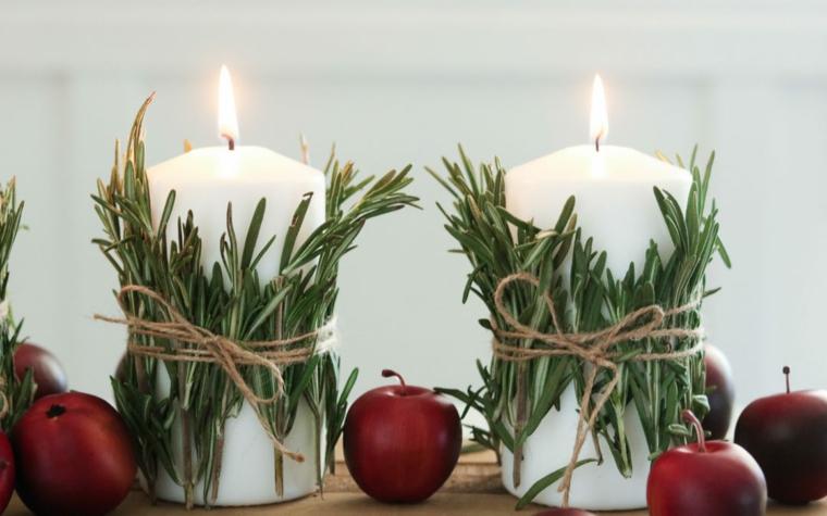 come apparecchiare la tavola a natale fai da te candele con rametti di rosmarino