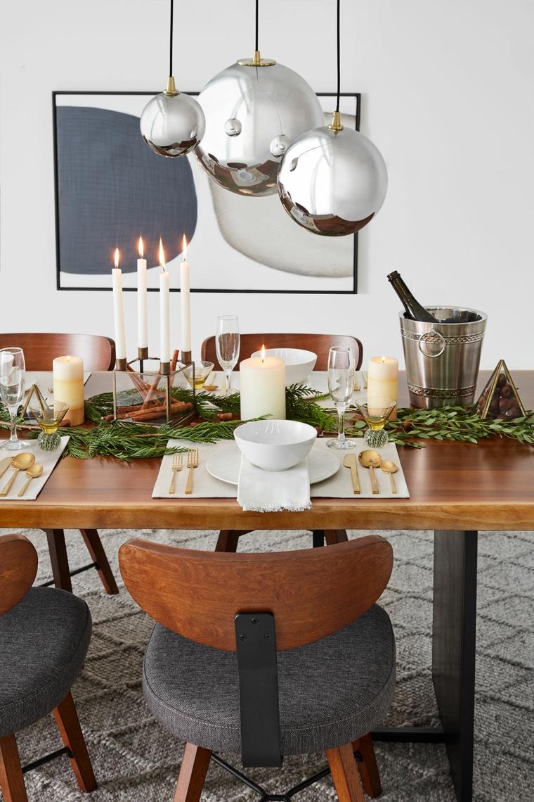 come apparecchiare la tavola a natale fai da te centrotavola con rami e candele