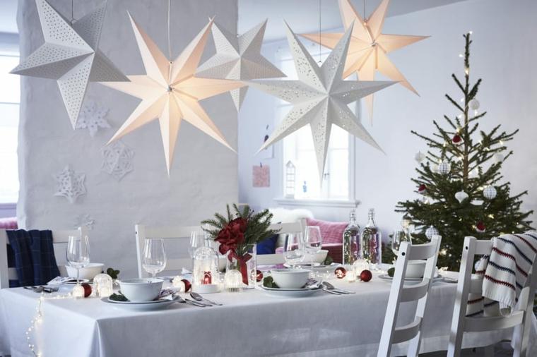 decorazione con stelle illuminanti centrotavola natalizi moderni tavolo con tovaglia bianca