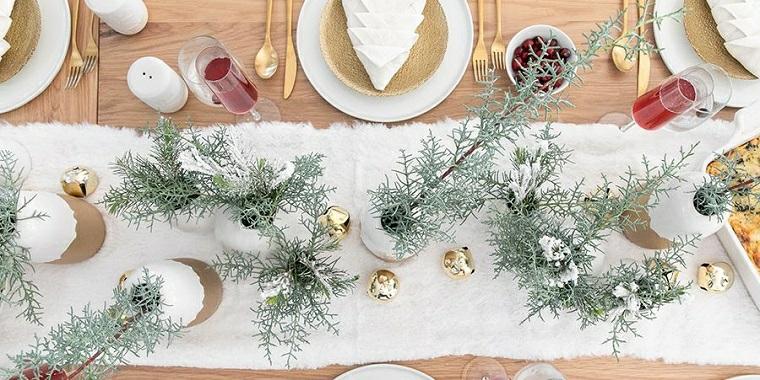 decorazione con vasi di rametti idee per apparecchiare la tavola natalizia