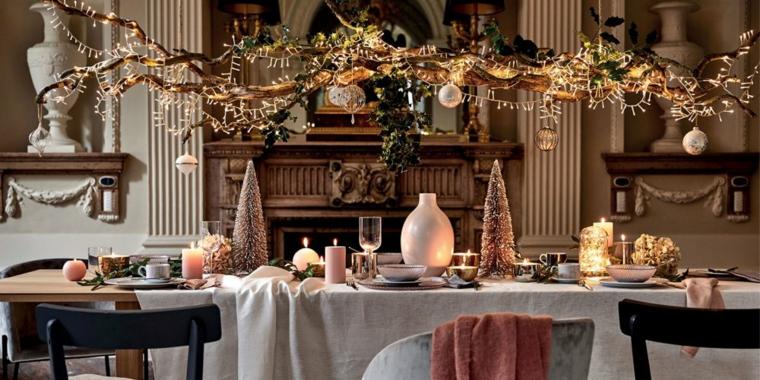 decorazioni di natale stile rustico centrotavola con mini alberelli idee per apparecchiare la tavola