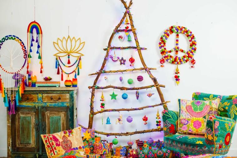 decorazioni vintage per natale scala di legno con palline natalizie fai da te