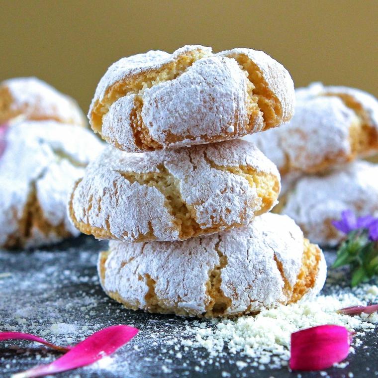 dolci tradizionali natalizi italiani soffici amaretti alle mandorle ricoperti con petali di fiori