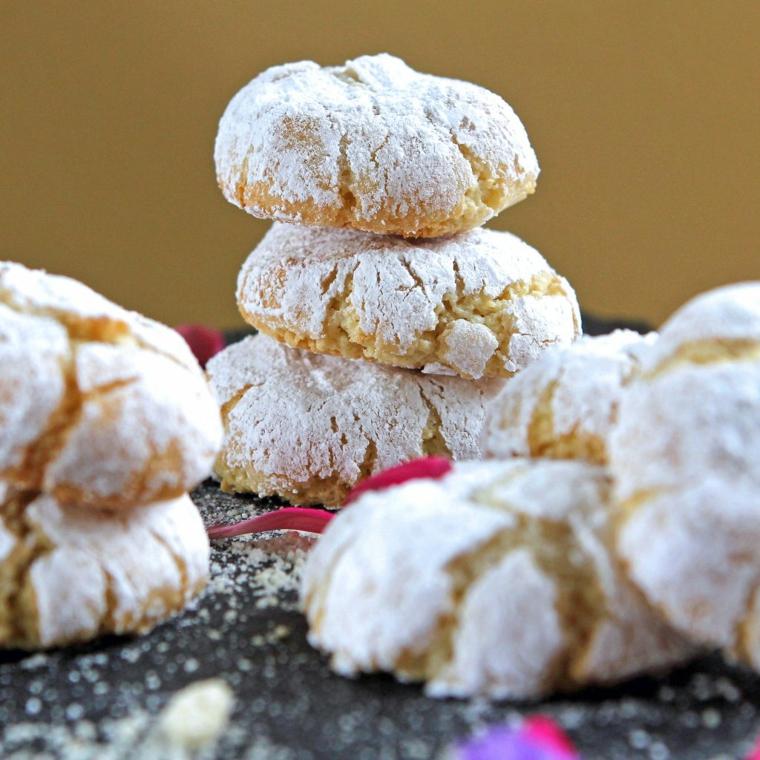 dolci tradizionali natalizi italiani soffici biscotti amaretti alle mandorle zucchero a velo