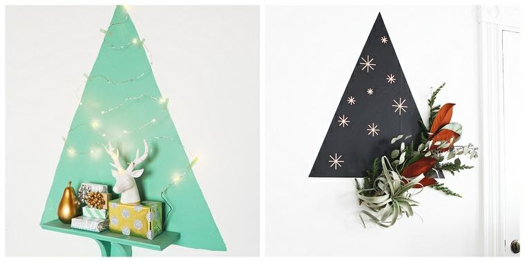 due alberi alternativi a forma di triangolo di legno decorazione con fili di luci