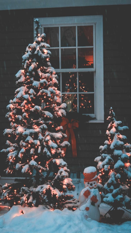 foto albero con neve davanzale finestra immagine wallpaper per telefono