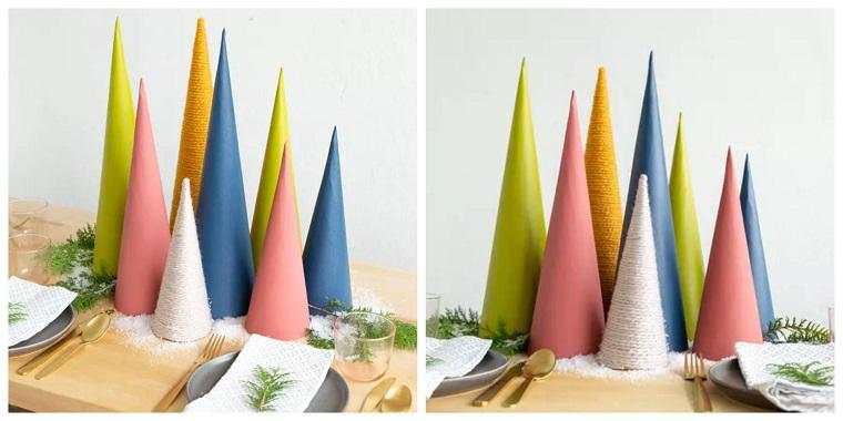idee centrotavola coni di carta dipinti con colori acrilici mini alberelli con lana