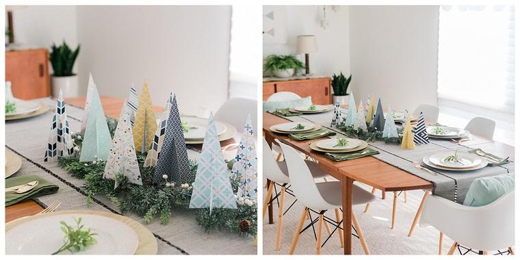 idee centrotavola natale alberelli natalizi di carta su una base di rametti verdi
