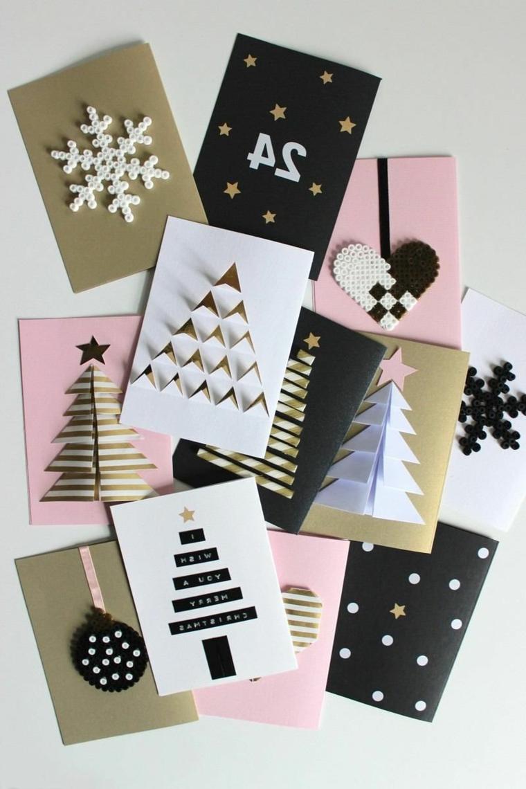 idee regali di natale fai da te cartoline decorate con alberi di natale
