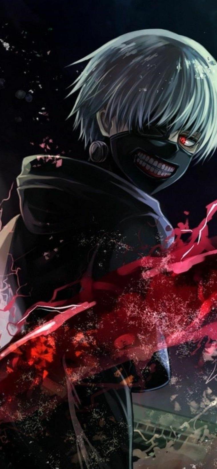 immagine per sfondo telefono ragazzo con maschera su visto cartone animato anime