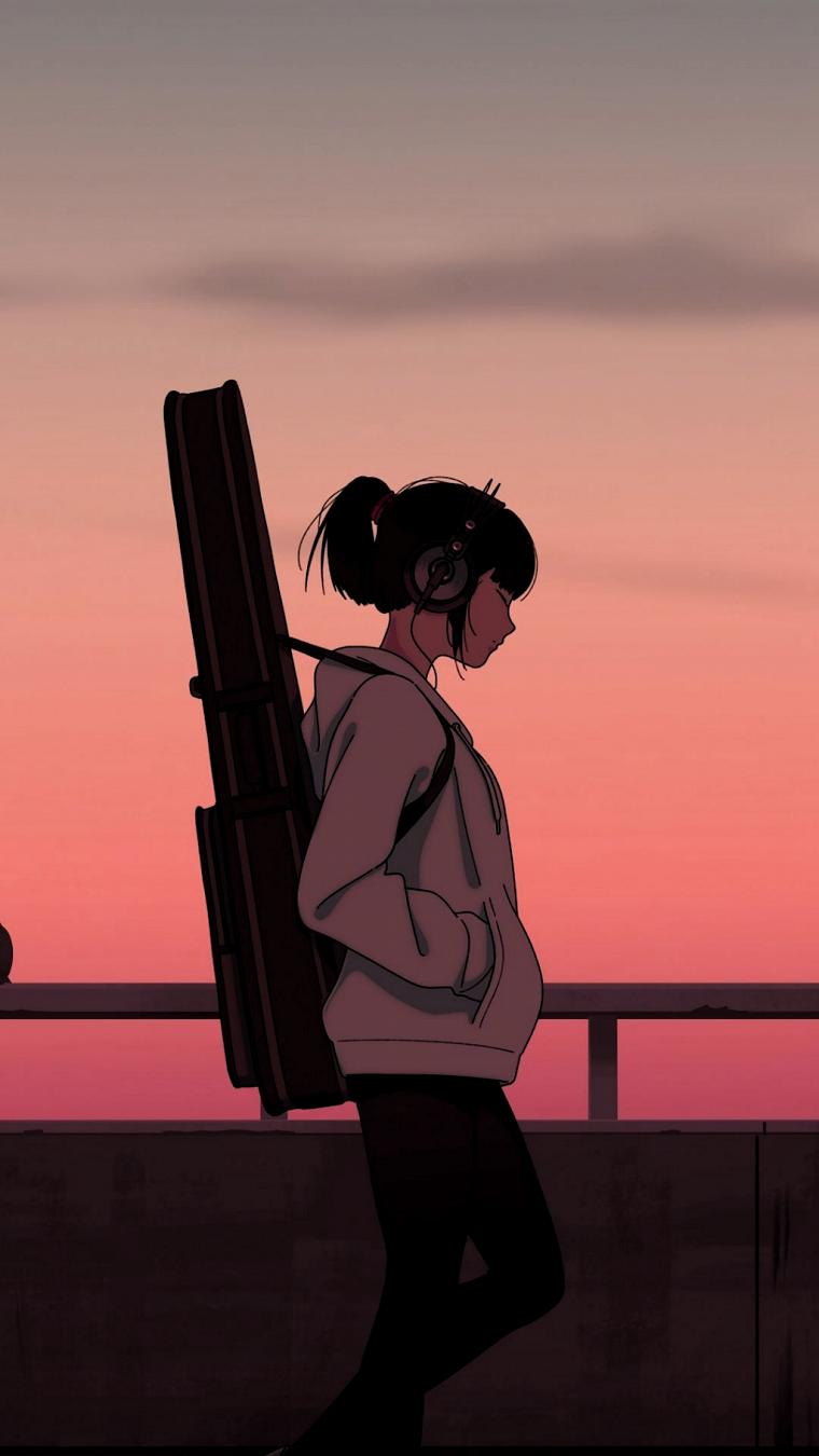 immagini anime disegno colorato di ragazza con chitarra che cammina