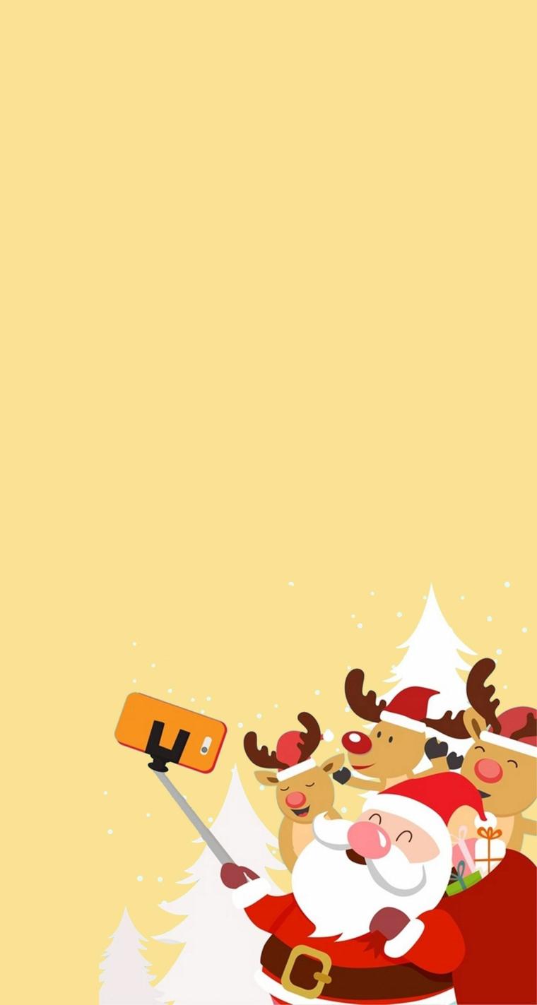 immagini natale stilizzate sfondo arancione con disegno di babbo natale e renne