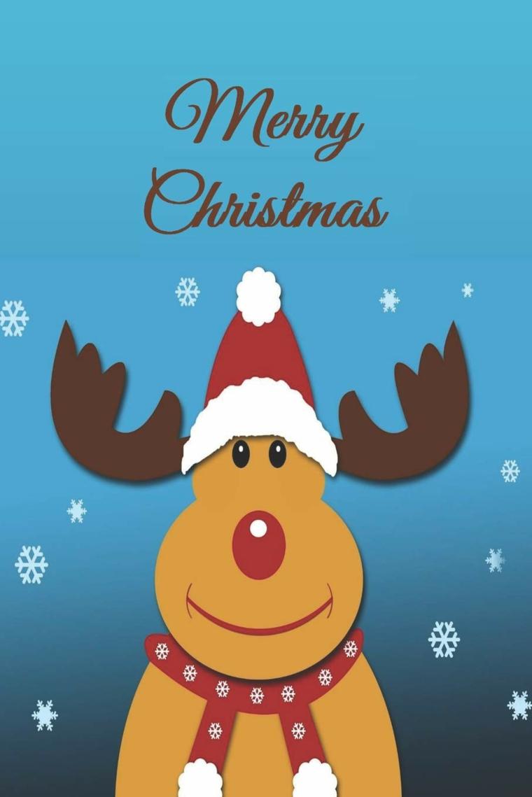 immagini natalizie bellissime disegno renna con cappuccio rosso sfondo per cellulare
