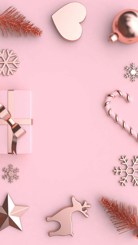 immagini natalizie da scaricare sfondo rosa con decorazioni di natale in legno