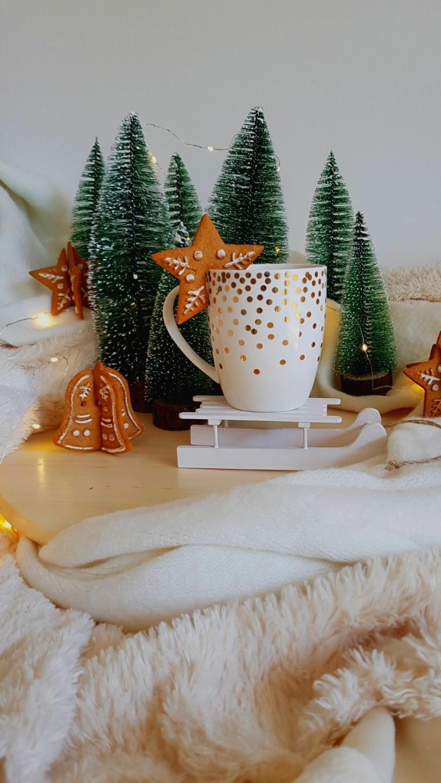 immagini paesaggi natalizi tazza di porcellana con mini alberelli