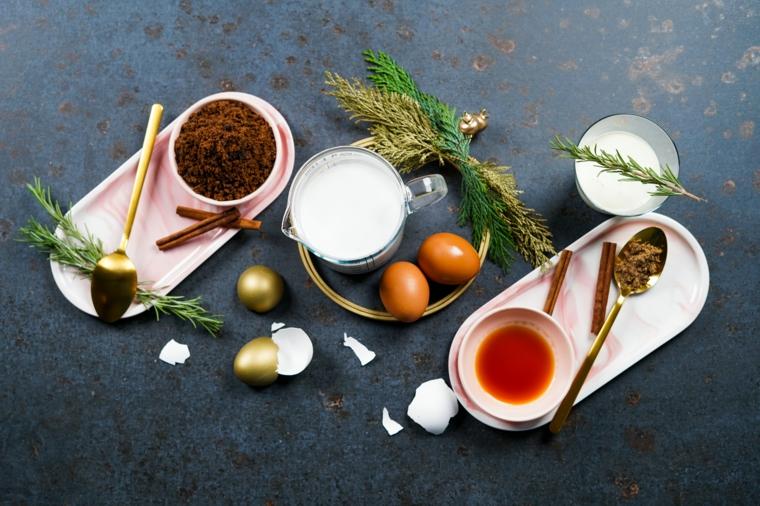 ingredienti per ricetta zabaione dolci di natale innovativi ciotola con zucchero di canna