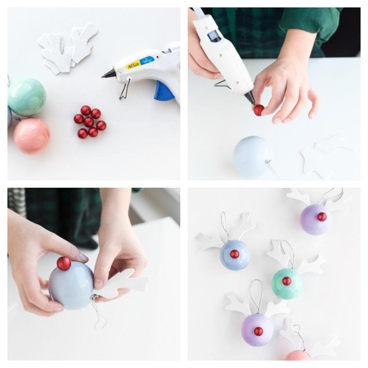 lavoretti di natale facili decorazione di palline natalizie con orecchie di rudolph