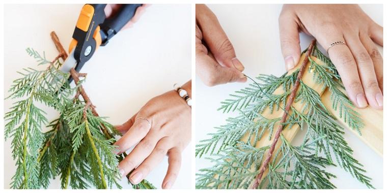 legare con filo di ferro rametti verdi albero di natale addobbato alternativo