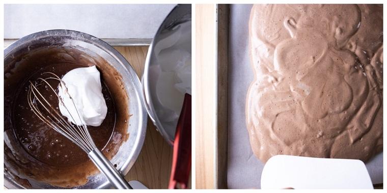 mischiare e stende la base ricetta tronchetto al cioccolato e panna montata