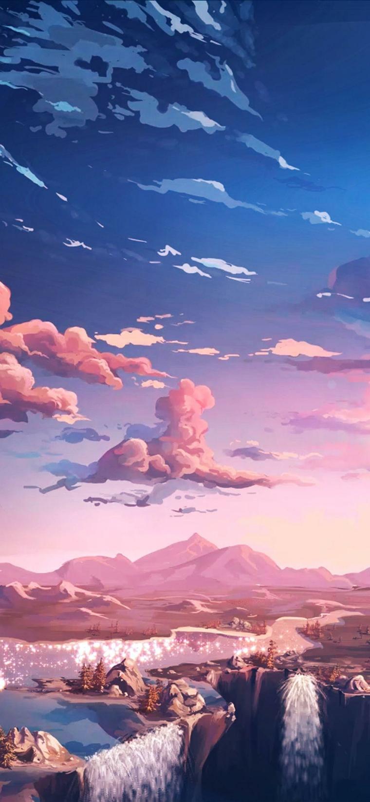paesaggio cartoni animati giapponesi immagine telefono anime cascate cielo