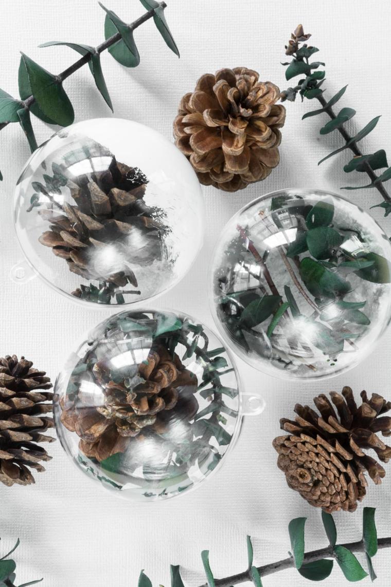 palline da appendere trasparenti decorazioni albero con pigne e rametti