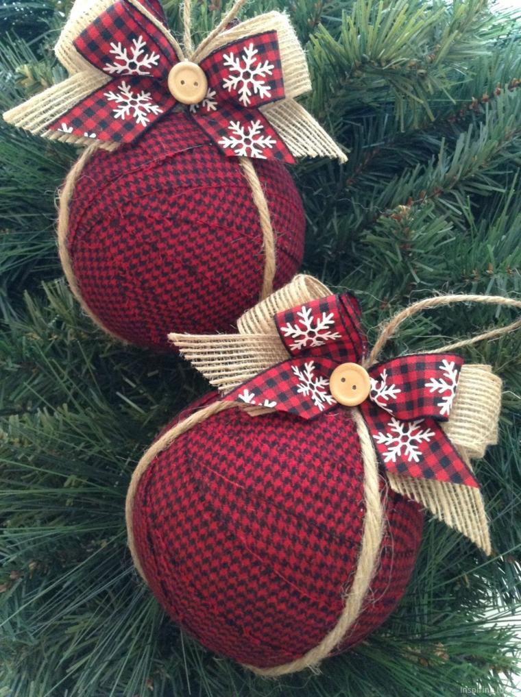 palline di natale di stoffa nastro con iuta e spago addobbi natalizi fatti a mano