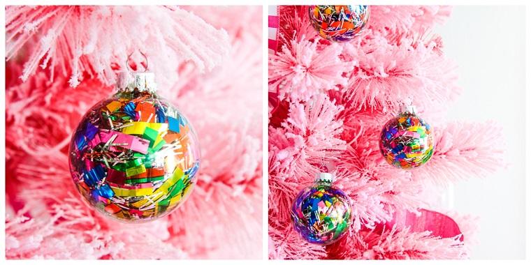 palline di natale fai da te 2020 palla natalizia trasparente ripiena con ghirlanda colorata