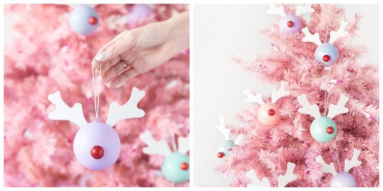 palline natalizie rudolph addobbi natalizi fai da te 2020 albero natalizio di colore rosa