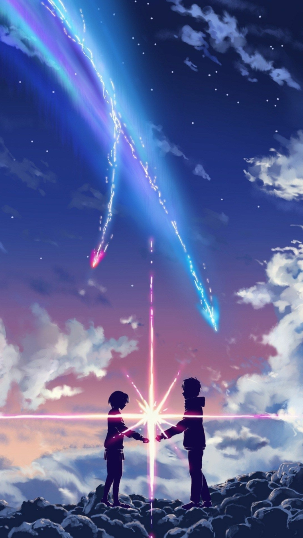 personaggi anime cartoni giapponesi due persone sulle nuvole immagine romantica per sfondo telefono