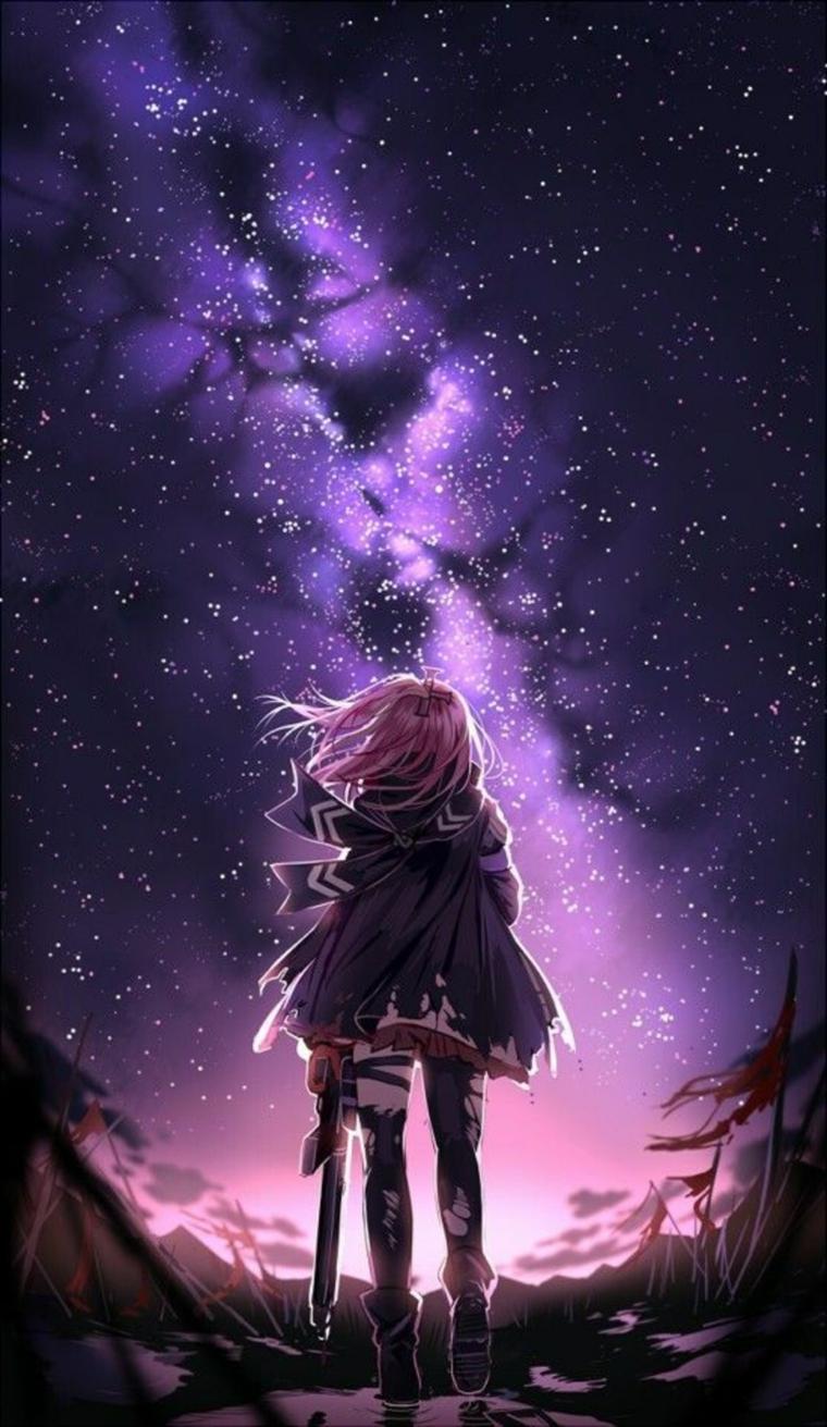 phone wallpaper 4k disegno ragazza con spada che guarda cielo stellato