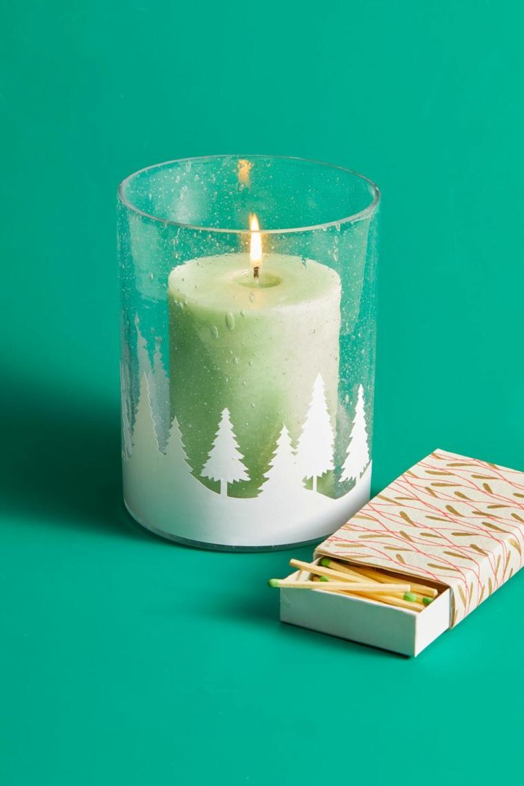 portacandela con disegno alberi di natale regali fai da te per migliore amiche