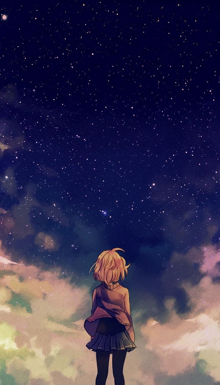 ragazza anime che guarda il cielo stellato sfondo per cellulare