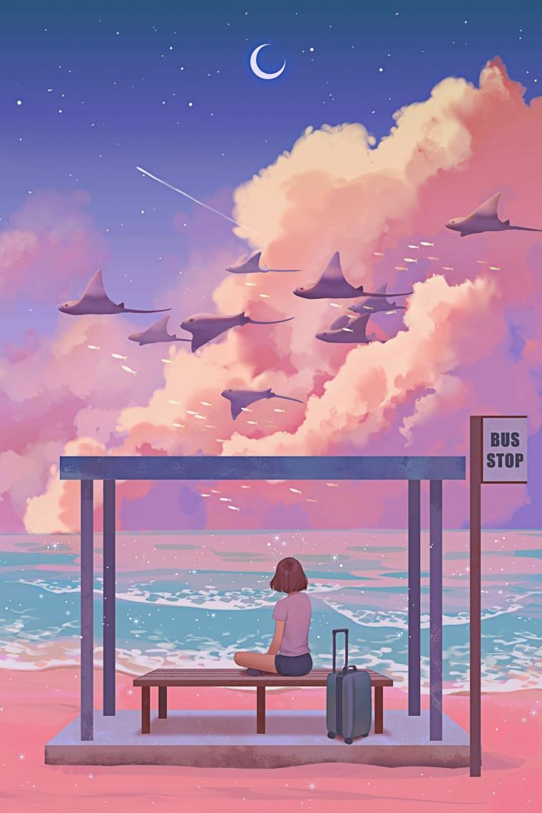 ragazza seduta sulla fermata riva al mare anime personaggio disegno per cellulare