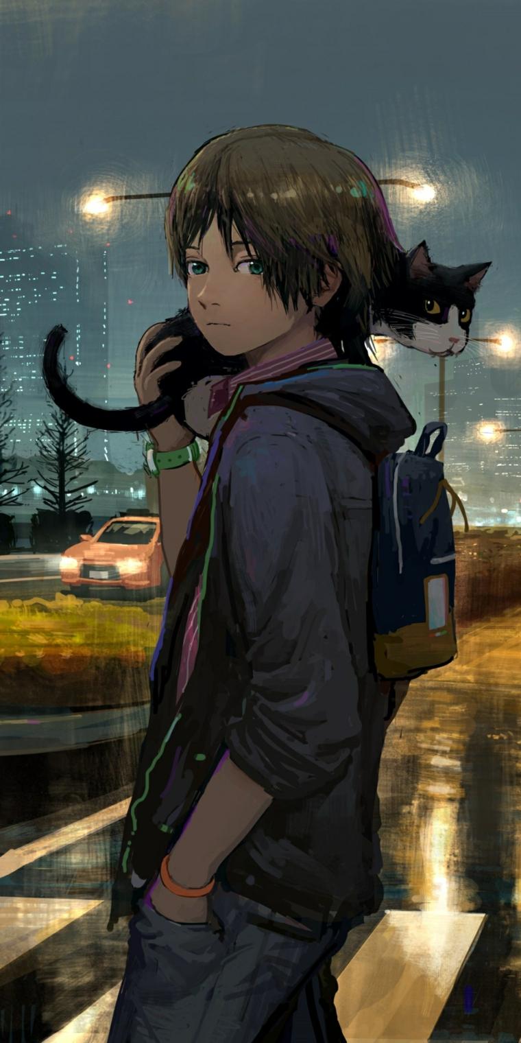 ragazzo anime phone wallpaper disegno gatto sulla spalla paesaggio città motturna