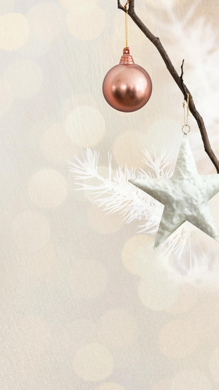 rametto con addobbi natalizi stella e pallina sfondi natalizi iphone