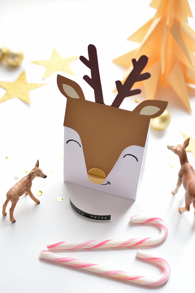 scatola regalo a forma di renna pensierini di natale fai da te bastoncini di caramelle natalizie