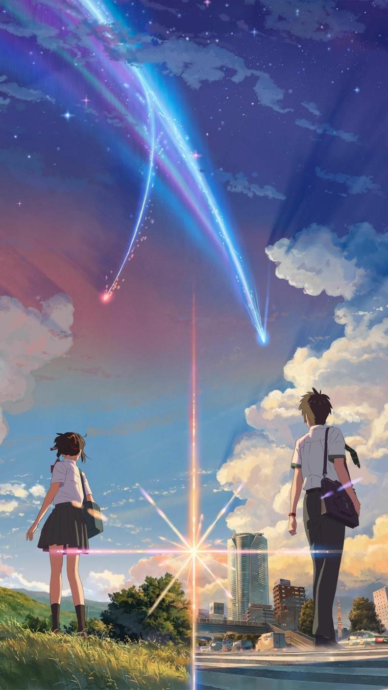 sfondi anime ragazzo e ragazza studenti che guardano il cielo