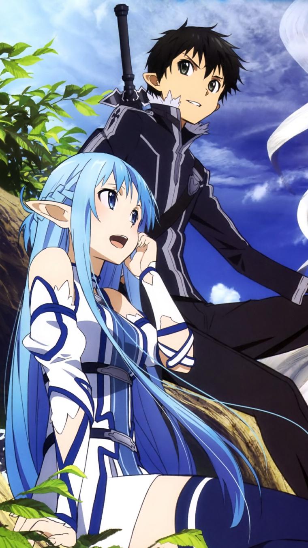 sfondi manga kirito asuna immagine con sfondo ciello azzurro
