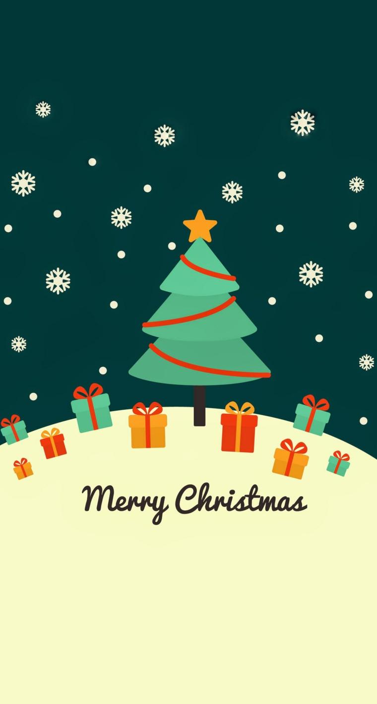 sfondi natalizi iphone disegno albero di natale con regali su sfondo verde