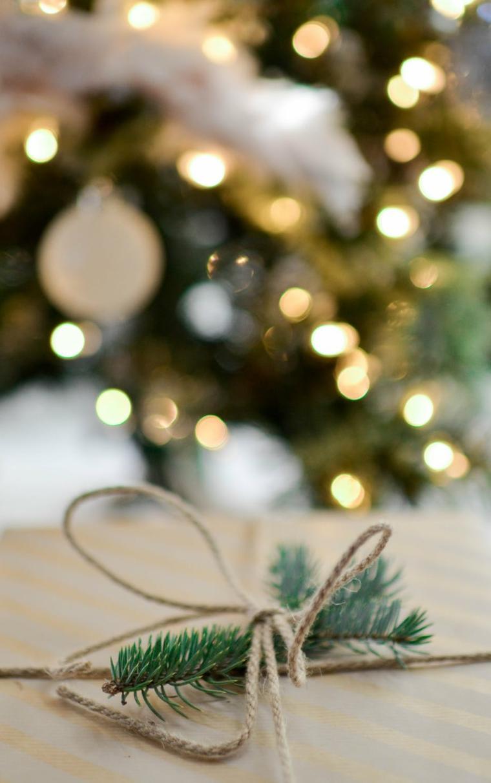 sfondi natalizi iphone rametto verdo legato con filo di iuta