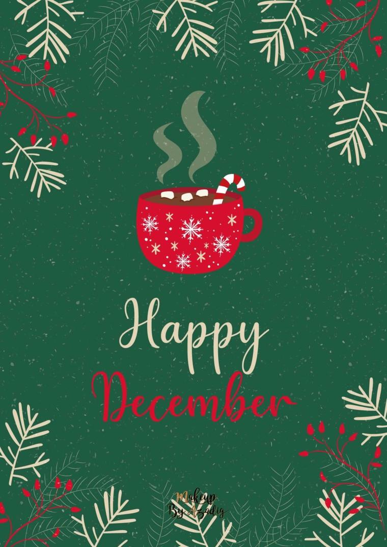 sfondi natalizi per cellulare disegno kawaii tazza scritta in inglese happy december