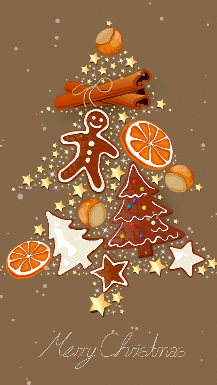 sfondi natalizi per cellulari immagine di dolcetti a forma di albero e stelle