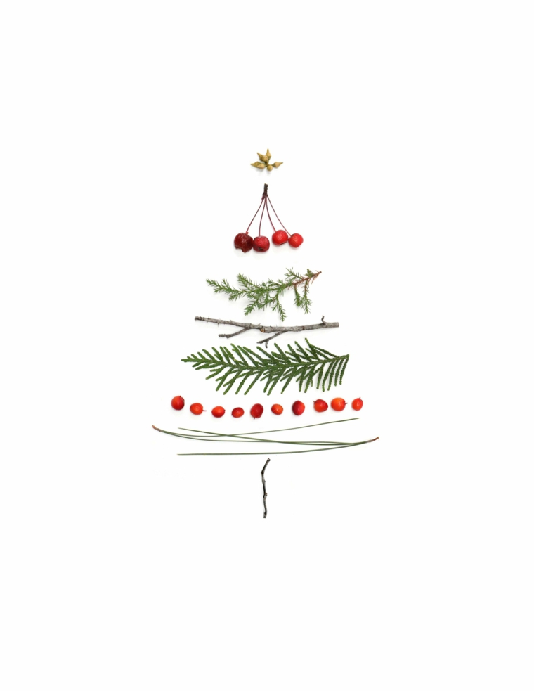 sfondi natalizi smartphone disegno albero di natale con rametti su sfondo bianco
