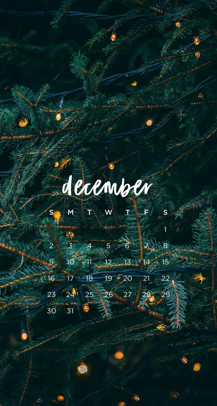 sfondi natalizi smartphone rametti di albero con lucine calendario mese dicembre