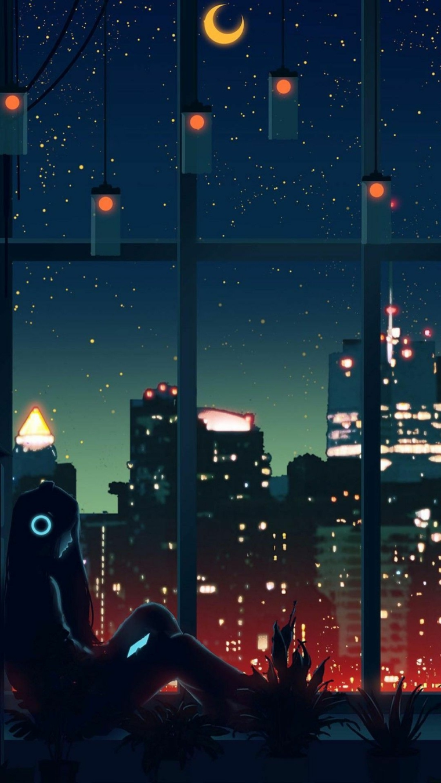 sfondi smartphone ciello stellato ragazzo davanti alla finestra che ascolta la musica