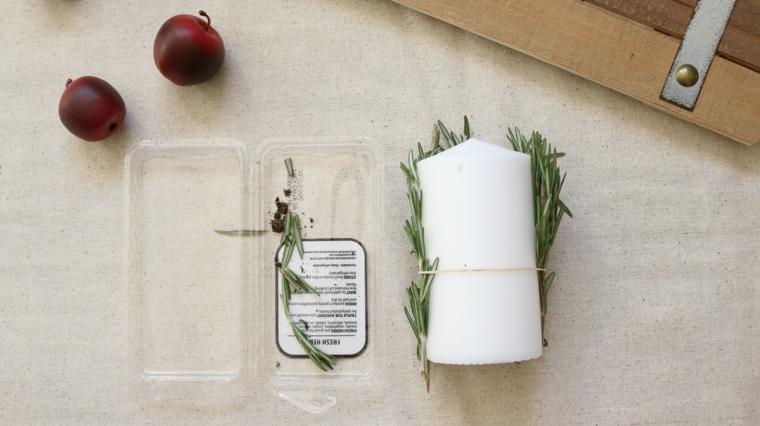 tutorial candela con rametti di rosmarino centrotavola natalizi moderni