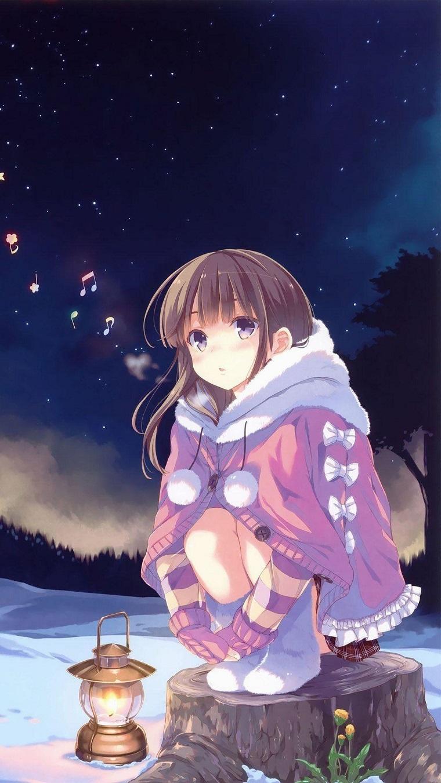 wallpaper hd anime ragazza seduta su un tronco con lanterna accanto
