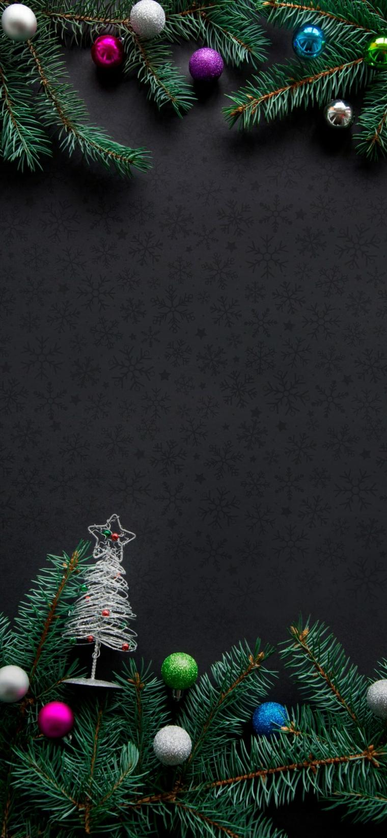 wallpaper per lo schermo del cellulare rametti verdi e palline colorate
