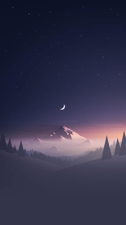 wallpaper telefono disegno montagna con cielo notturno e mezza luna